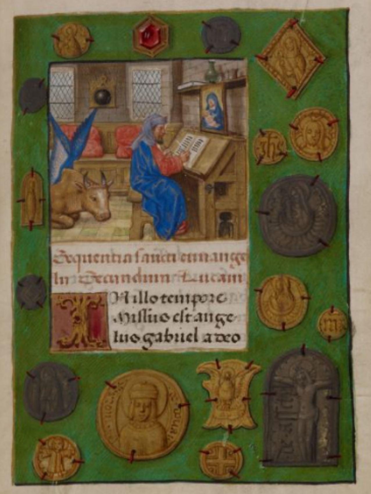 Heures de Marie de Castille Master of the David scene in the Grimani breviaire 1496 ca BL Add MS 18852 fol 184r St Luc