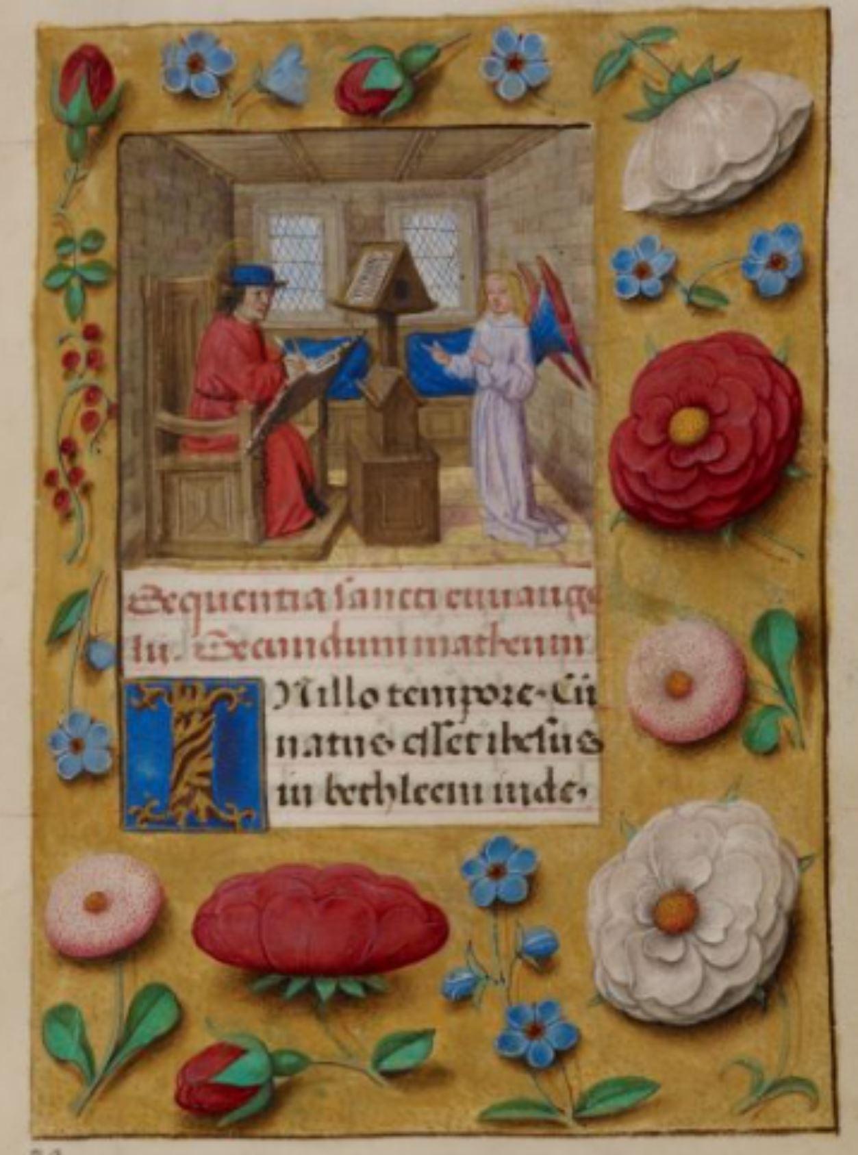 Heures de Marie de Castille Master of the David scene in the Grimani breviaire 1496 ca BL Add MS 18852 fol 186r St Matthieu