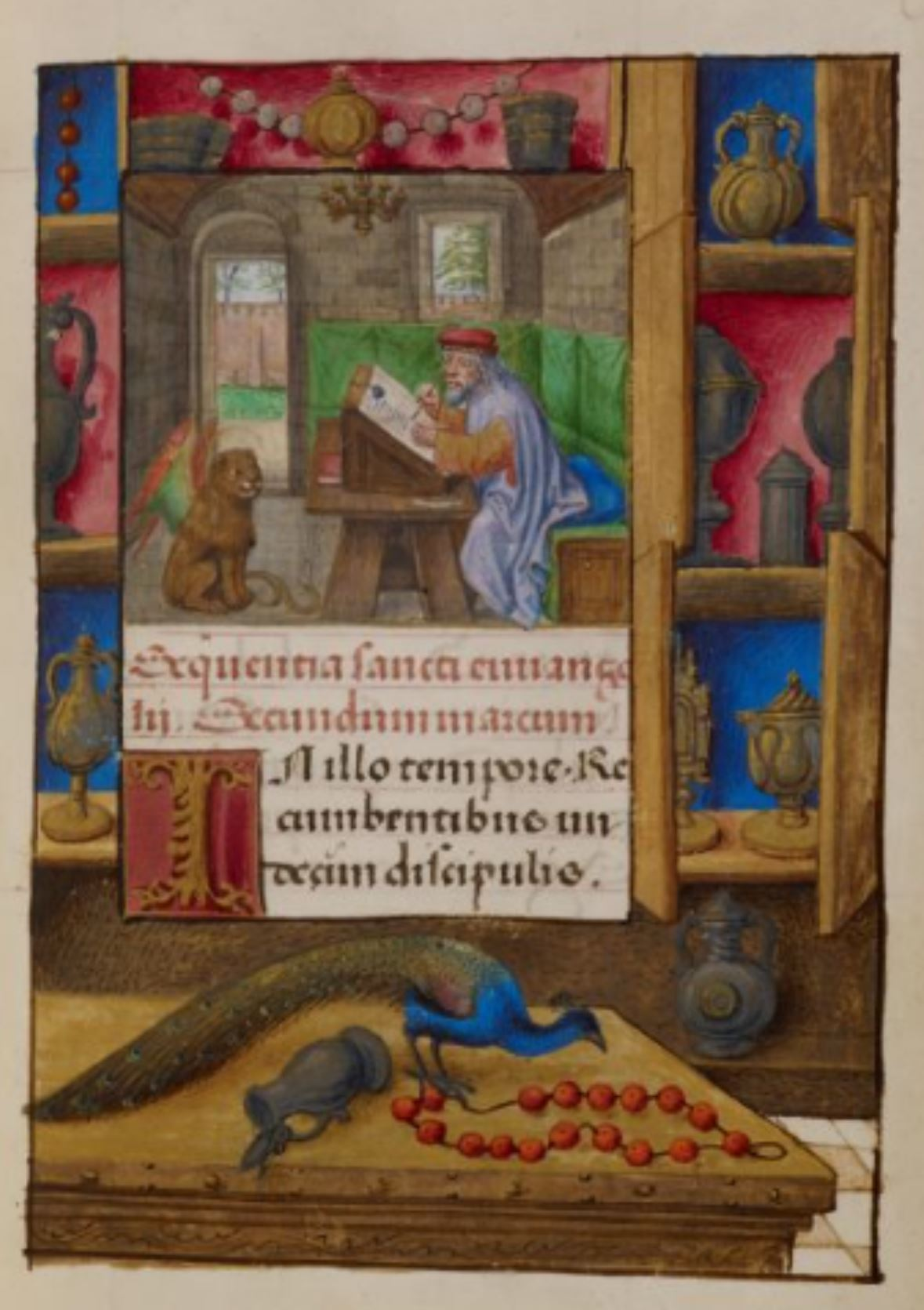 Heures de Marie de Castille Master of the David scene in the Grimani breviaire 1496 ca BL Add MS 18852 fol 189r St Marc