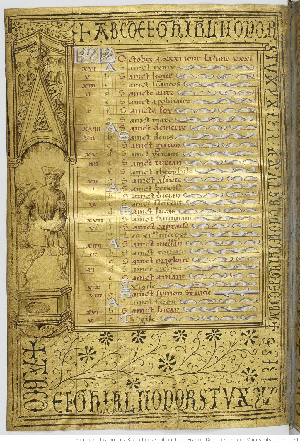 Heures dites de Henri IV BNF Lat 1171 fol 5v Octobre Gallica