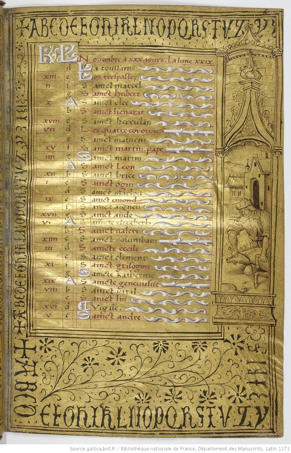 Heures dites de Henri IV BNF Lat 1171 fol 6r Novembre Gallica