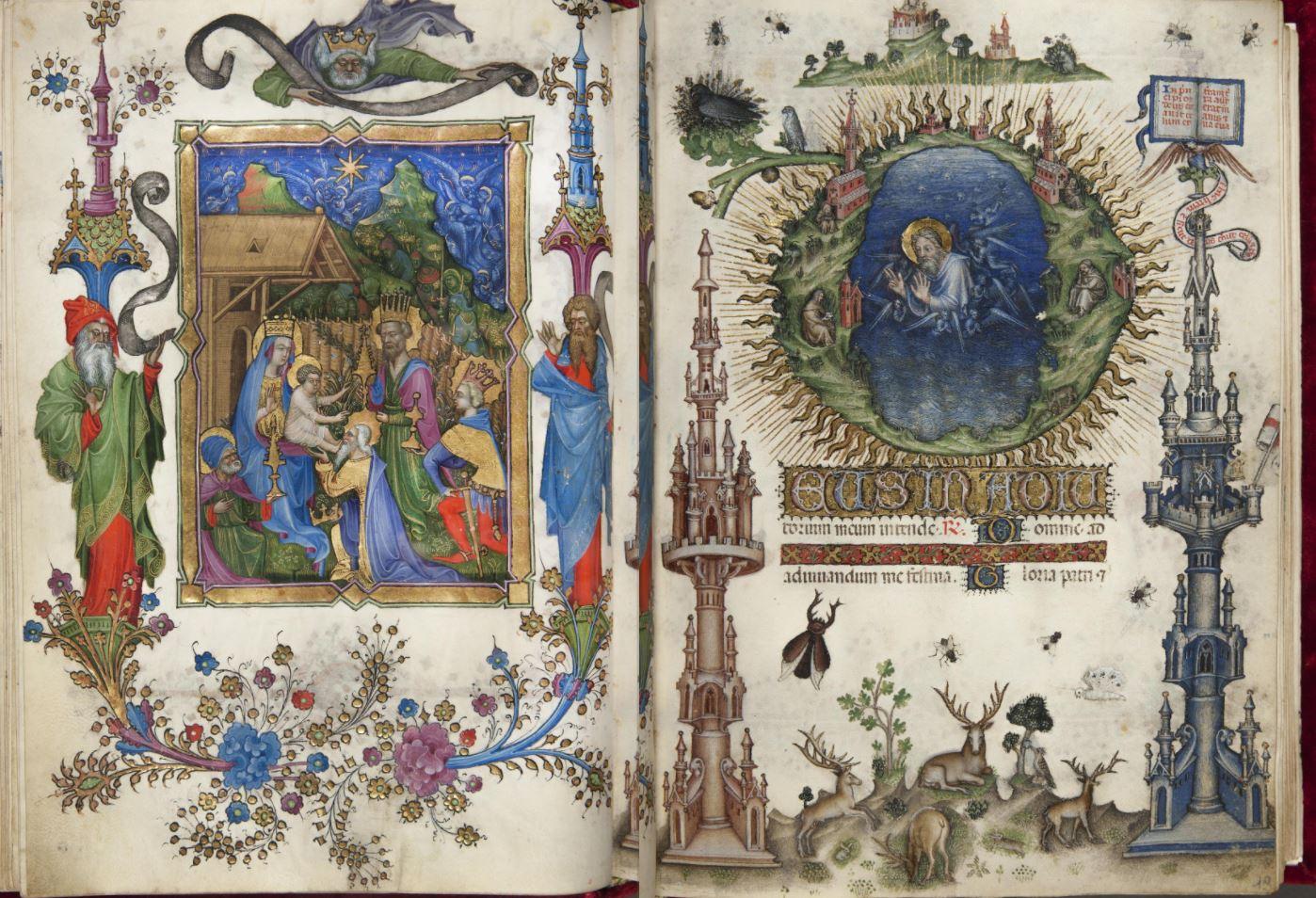 Livre d'Heures de Jean Galeas Visconti Vol 2 Landau Finaly 22 fol LF18-19 Adoration des Mages