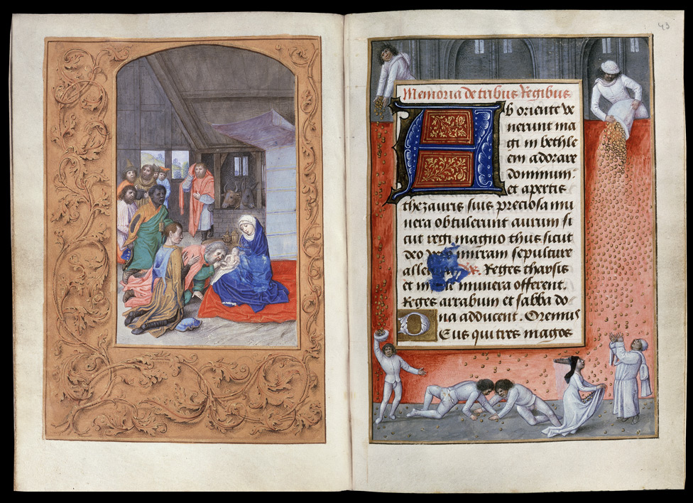 London Hastings Hours Add MS 54782 c 1480 _f42-43_-_Adoration_of_kings