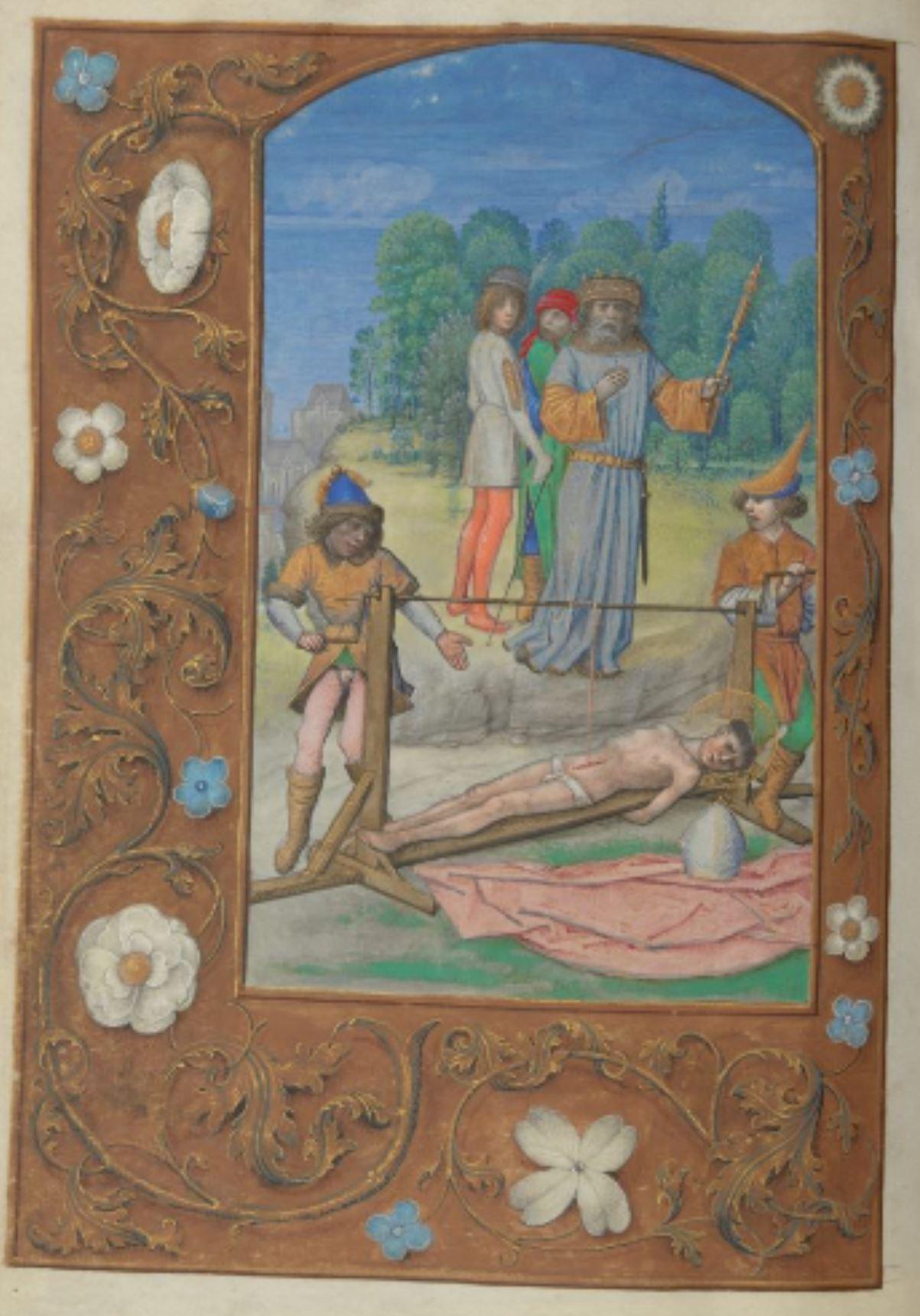 London Hastings Hours Add MS 54782 c 1480 fol 53v St Erasme patron des marins