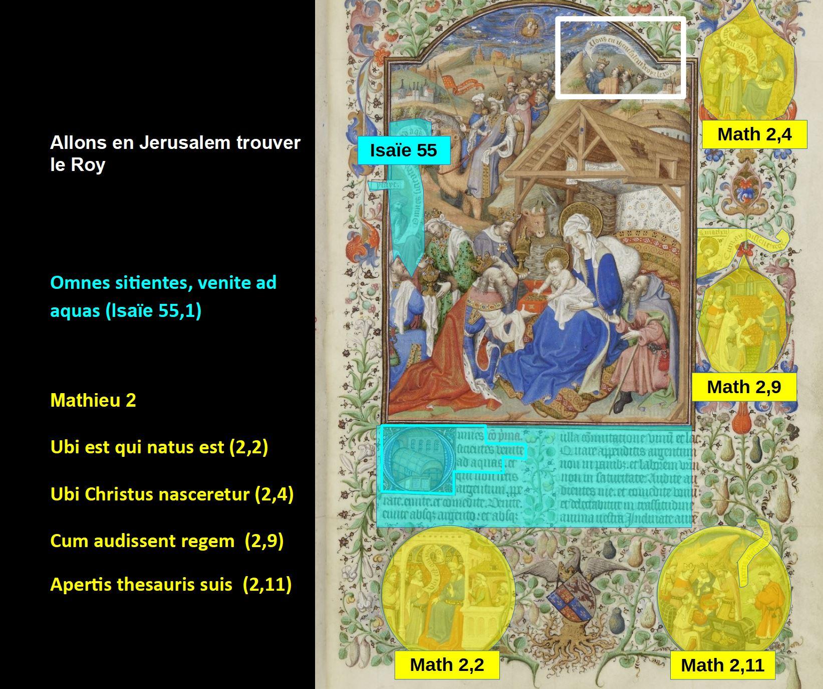 Maitre de Bedford, 1424-1435, Breviaire de Salisbury, pour le duc de Bedford BNF Lat 17294 fol 106r Adoration des Mages gallica schema