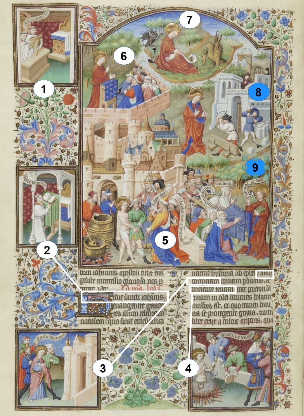 Maitre de Bedford (atelier), 1424-1435, Breviaire de Salisbury, pour le duc de Bedford BNF Lat 17294 fol 455v Saint Jean gallica schema