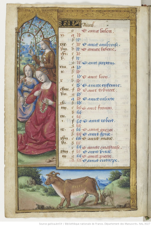 Maitre des Triomphes de Petrarque Petites Heures d'Anne de Bretagne BNF NAL 3027 fol 2v Avril Gallica
