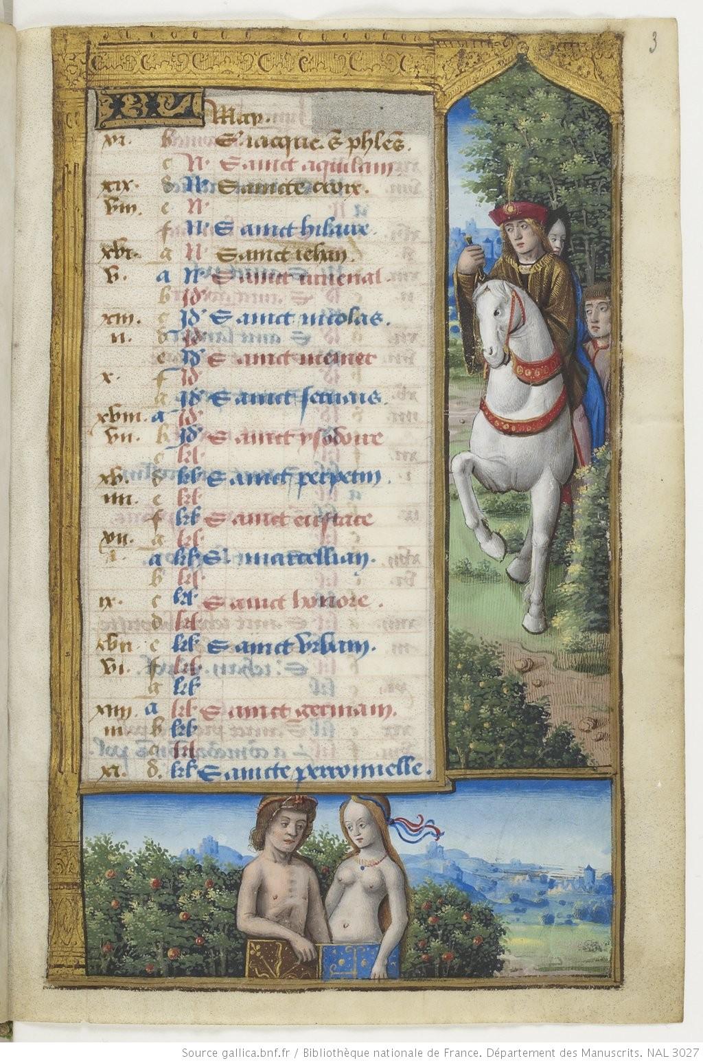 Maitre des Triomphes de Petrarque Petites Heures d'Anne de Bretagne BNF NAL 3027 fol 3r Mai Gallica