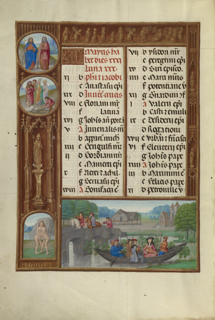 Spinola hours 1510-20 Getty Ms. Ludwig IX 18 fol 003v Atelier Master of James IV of Scotland May Calendar Page
