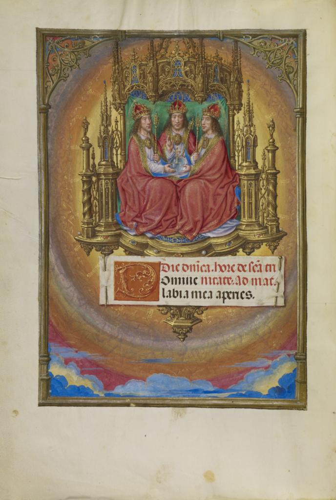 Spinola hours 1510-20 Getty Ms. Ludwig IX 18 fol 010v Master of James IV of Scotland The Holy Trinity Enthroned