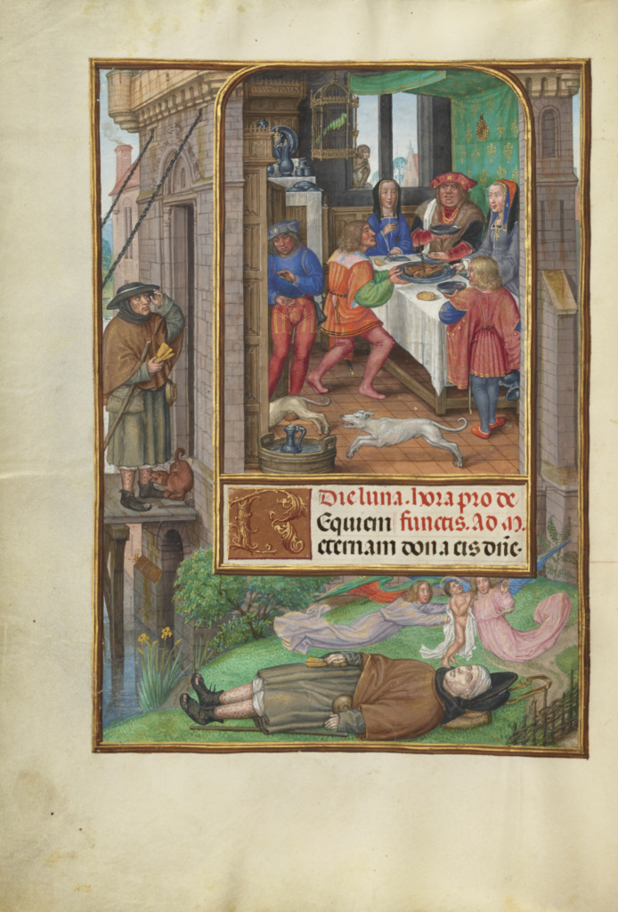 Spinola hours 1510-20 Getty Ms. Ludwig IX 18 fol 021v Master of James IV of Scotland The Feast of Dives detail