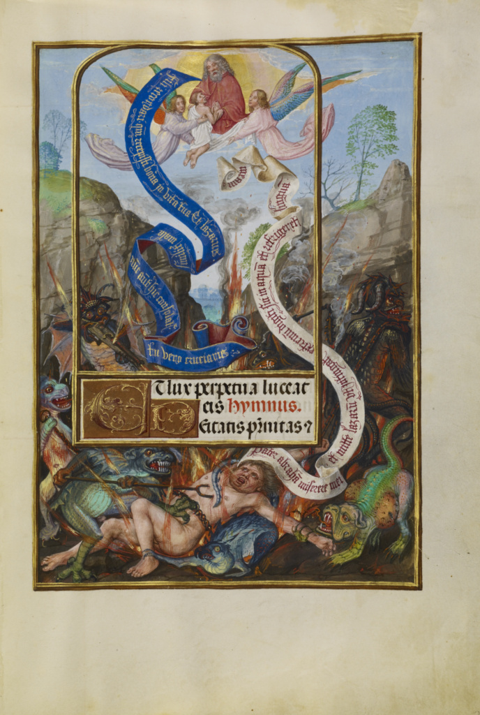 Spinola hours 1510-20 Getty Ms. Ludwig IX 18 fol 022 Master of James IV of Scotland L'ame de Lazare dans le sein d'Abraham