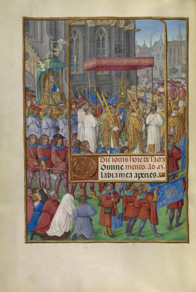 Spinola hours 1510-20 Getty Ms. Ludwig IX 18 fol 048v Master of James IV of Scotland Procession for Corpus Christi