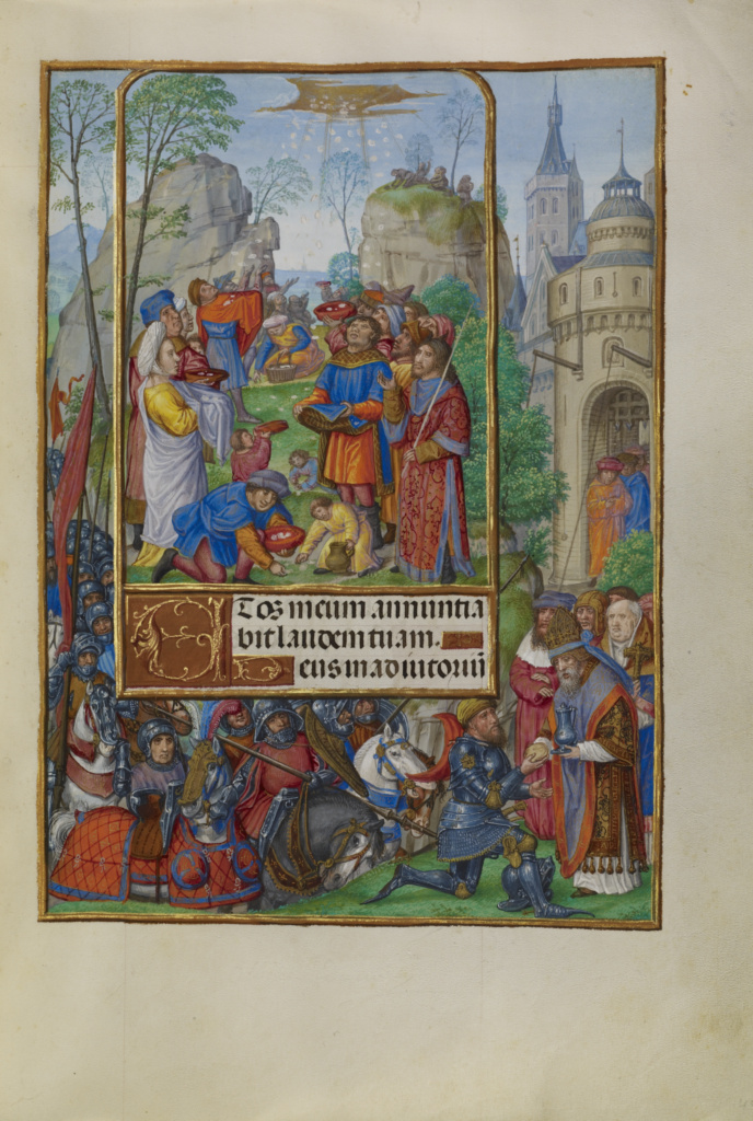 Spinola hours 1510-20 Getty Ms. Ludwig IX 18 fol 049 Master of James IV of Scotland The Israelites Collecting Manna from Heaven