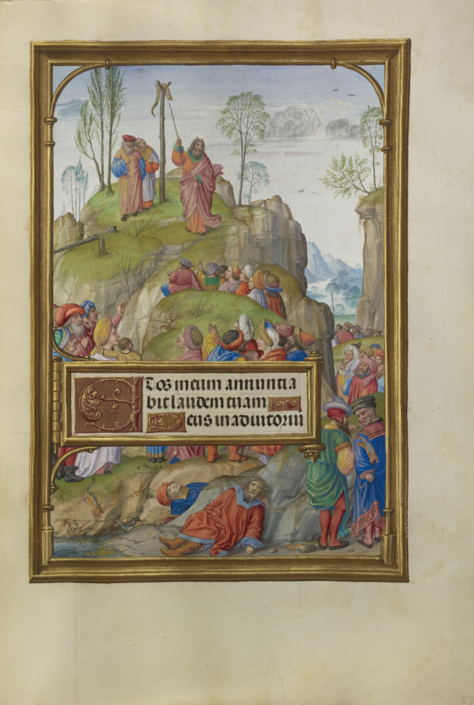 Spinola hours 1510-20 Getty Ms. Ludwig IX 18 fol 057 Master of James IV of Scotland Moise et le serpent d'airain