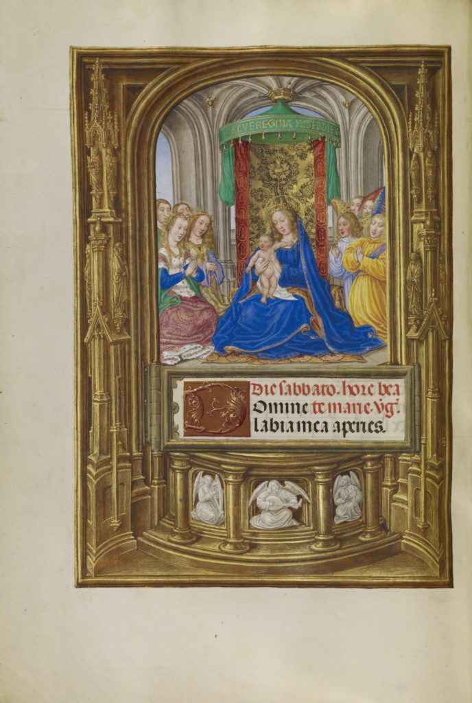 Spinola hours 1510-20 Getty Ms. Ludwig IX 18 fol 064v Master of James IV of Scotland The Virgin and Child Enthroned