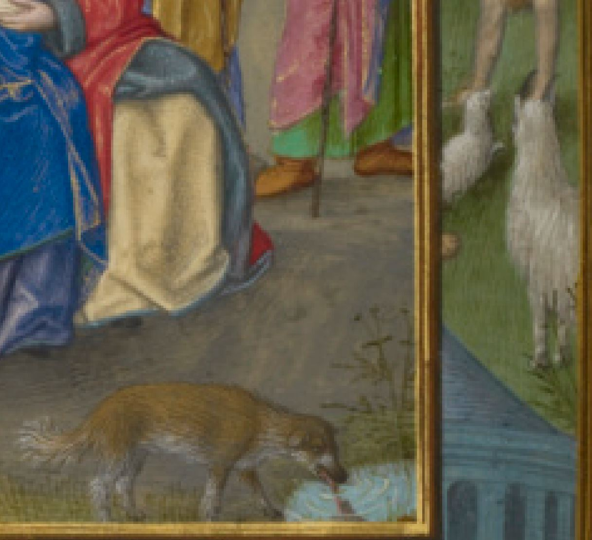 Spinola hours 1510-20 Getty Ms. Ludwig IX 18 fol 109v Master_of_the_Dresden_Prayer_Book The_Visitation detail