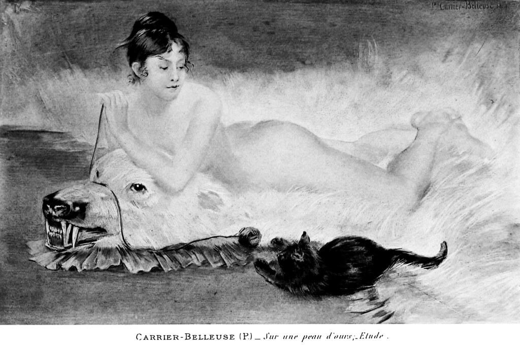 Pierre Carrier-Belleuse 1889 Sur une peau d'ours