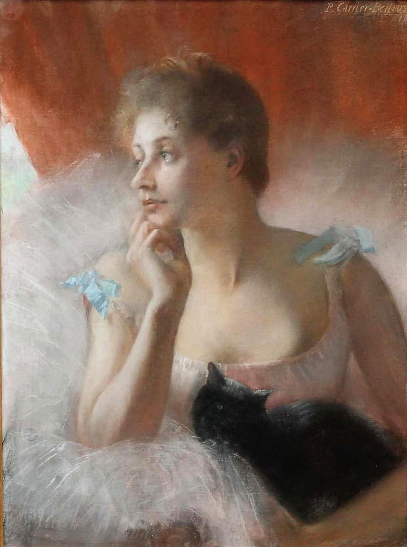 Pierre Carrier-Belleuse 1891 Ballerine avec un chat