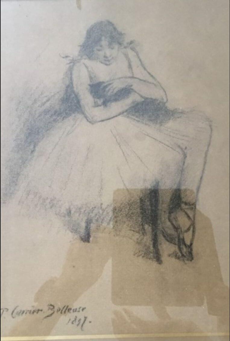 Pierre Carrier-Belleuse 1897 Danseuse au chat noir lithographie