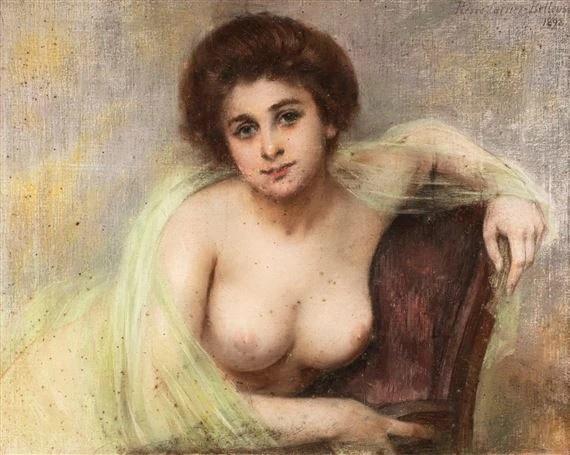 Pierre Carrier-Belleuse 1898 Aguicheuse au voile vert