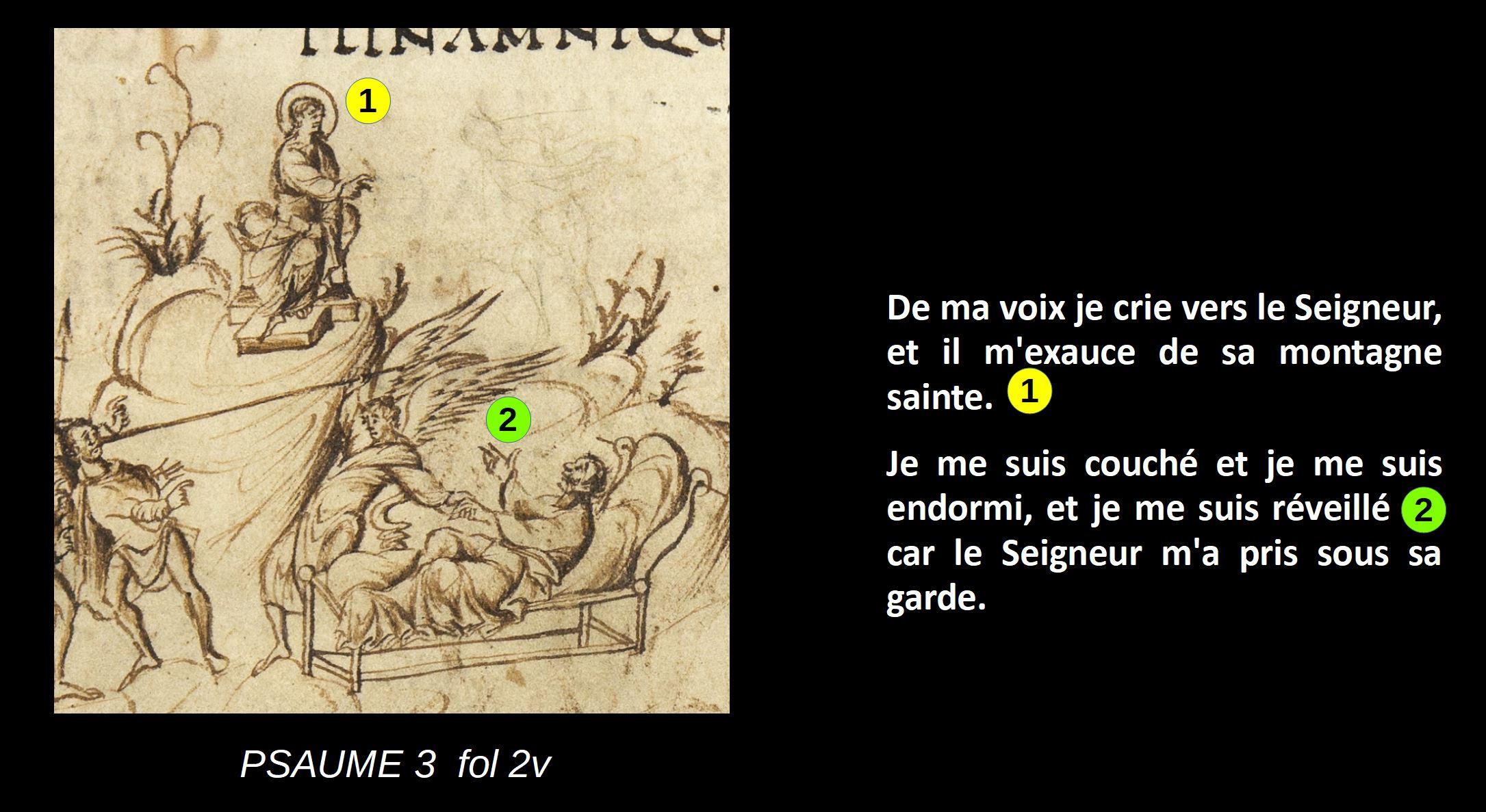 Utrecht Psalter PSAUME 3 fol 2v schema