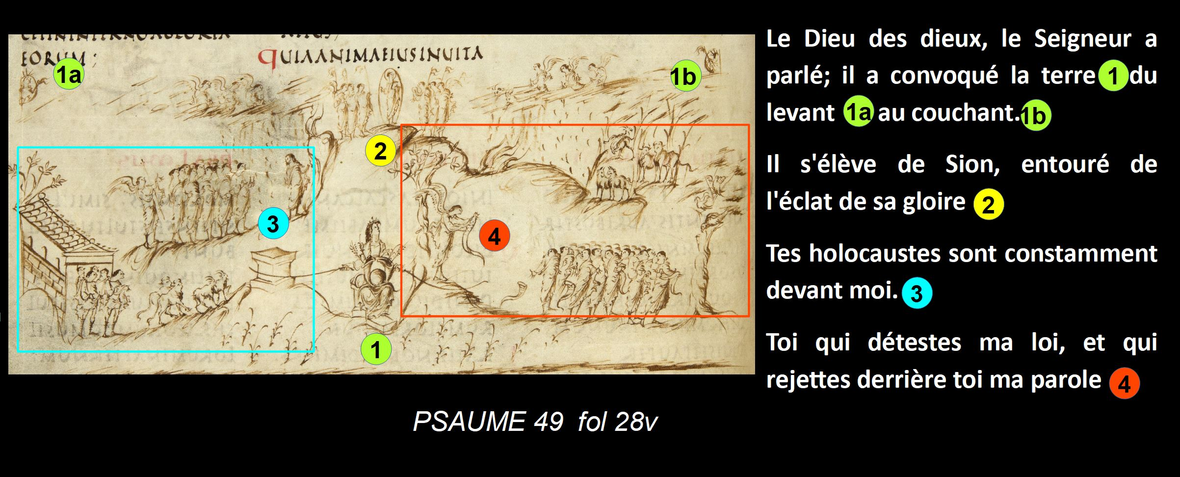 Utrecht Psalter PSAUME 49 fol 28v schema ensemble