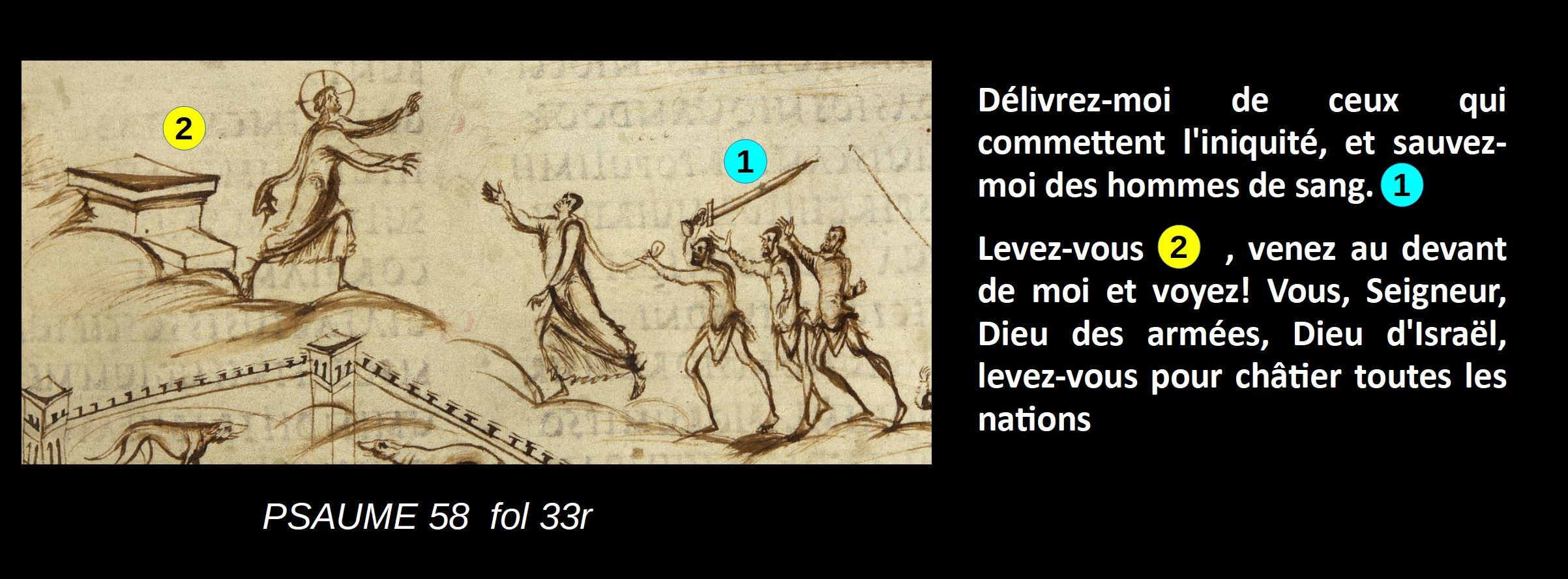 Utrecht Psalter PSAUME 58 fol 33r schema