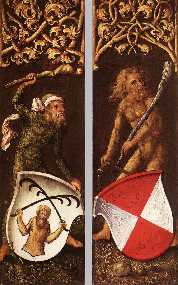 Durer 1499 Homme sauvages tenant des ecus triptychon des Oswolt Krel Alte Pinakothek Munich