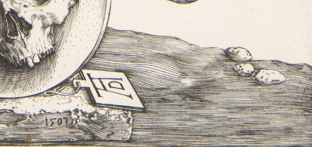 Durer 1503 Coat of Arms with a Skull MET detail monogramme