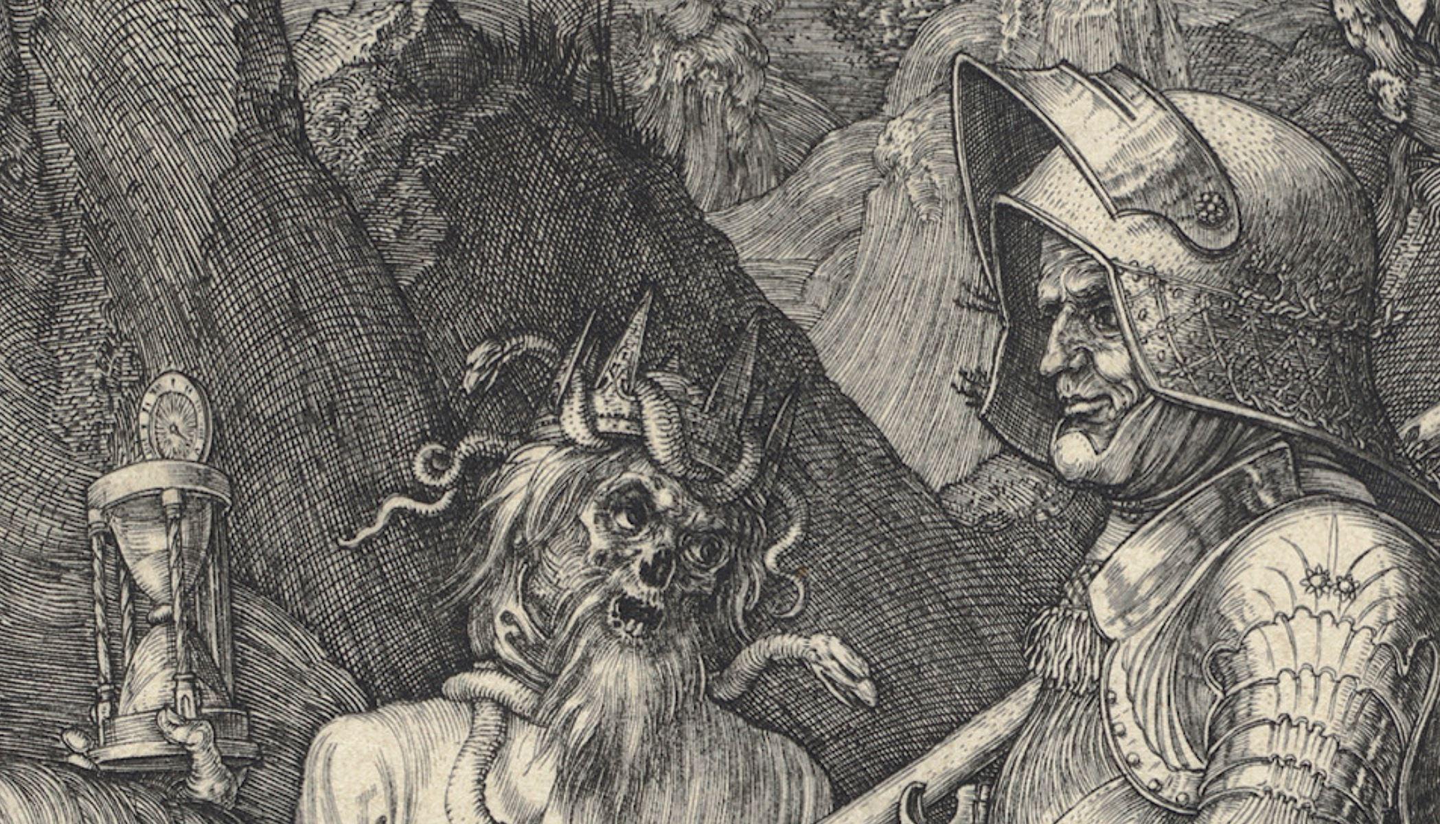 Durer 1513 le chevalier la mort. et le diable detail